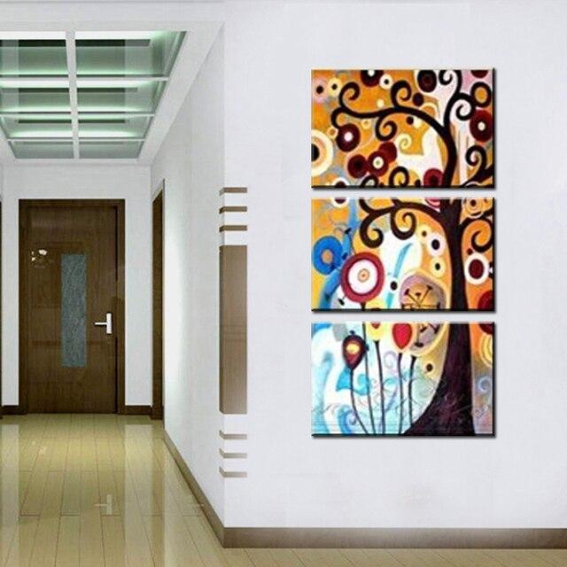 Vertical handmade 3 piece canvas wall art painting abstract modern ...