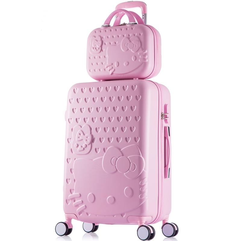 Корея моды девушка прекрасный ярких цветов багаж наборы на Универсальный колеса, высокое качество 14 24 дюймов ABS + PC багаж