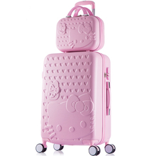 Korea trend woman beautiful sweet shade journey baggage units on common wheels,top quality 14 24inches abs+laptop trolley baggage