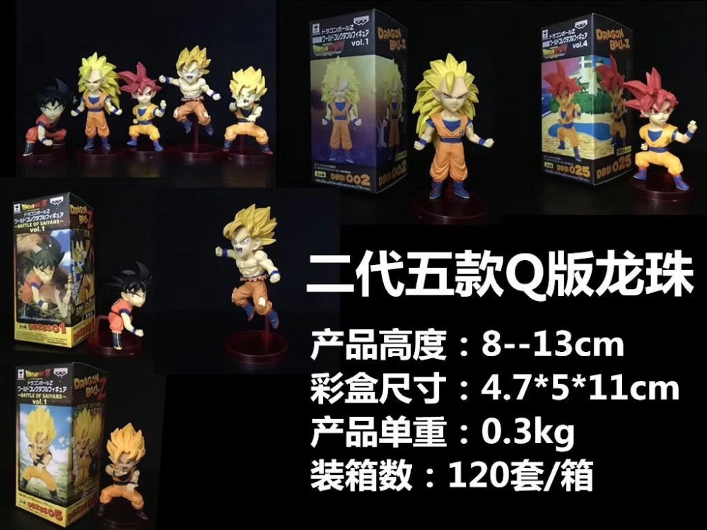 Huong Anime 8-13CM 6pcs/set Dragon Ball Super Saiyan God Son Goku Red Hair Gokou PVC Figure Collectible Model Toys Gift