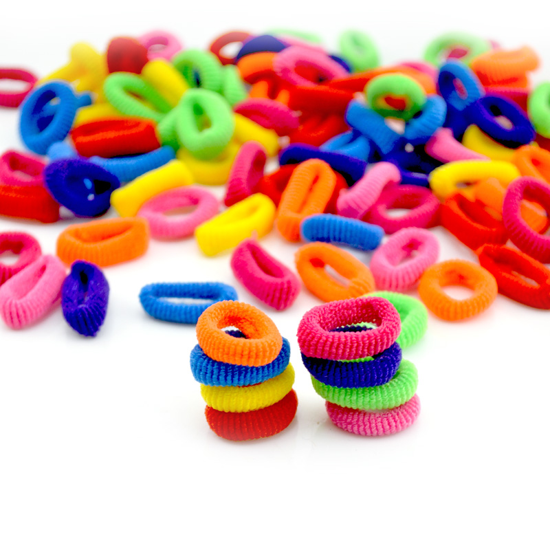 200 Pcs Colorful Child Kids Hair Holders Cute Rubber Hair Band Elastics Accessories Girl Women Charms Tie Gum