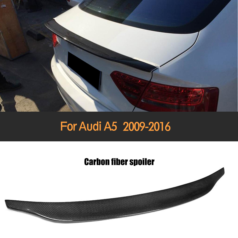 Carbon Fiber Rear Trunk Boot Spoiler Lip Wing For Audi A5 Coupe 4 Door 2 Door 2009-2016 Non S lineCarbon Fiber Rear Trunk Boot Spoiler Lip Wing For Audi A5 Coupe 4 Door 2 Door 2009-2016 Non S line