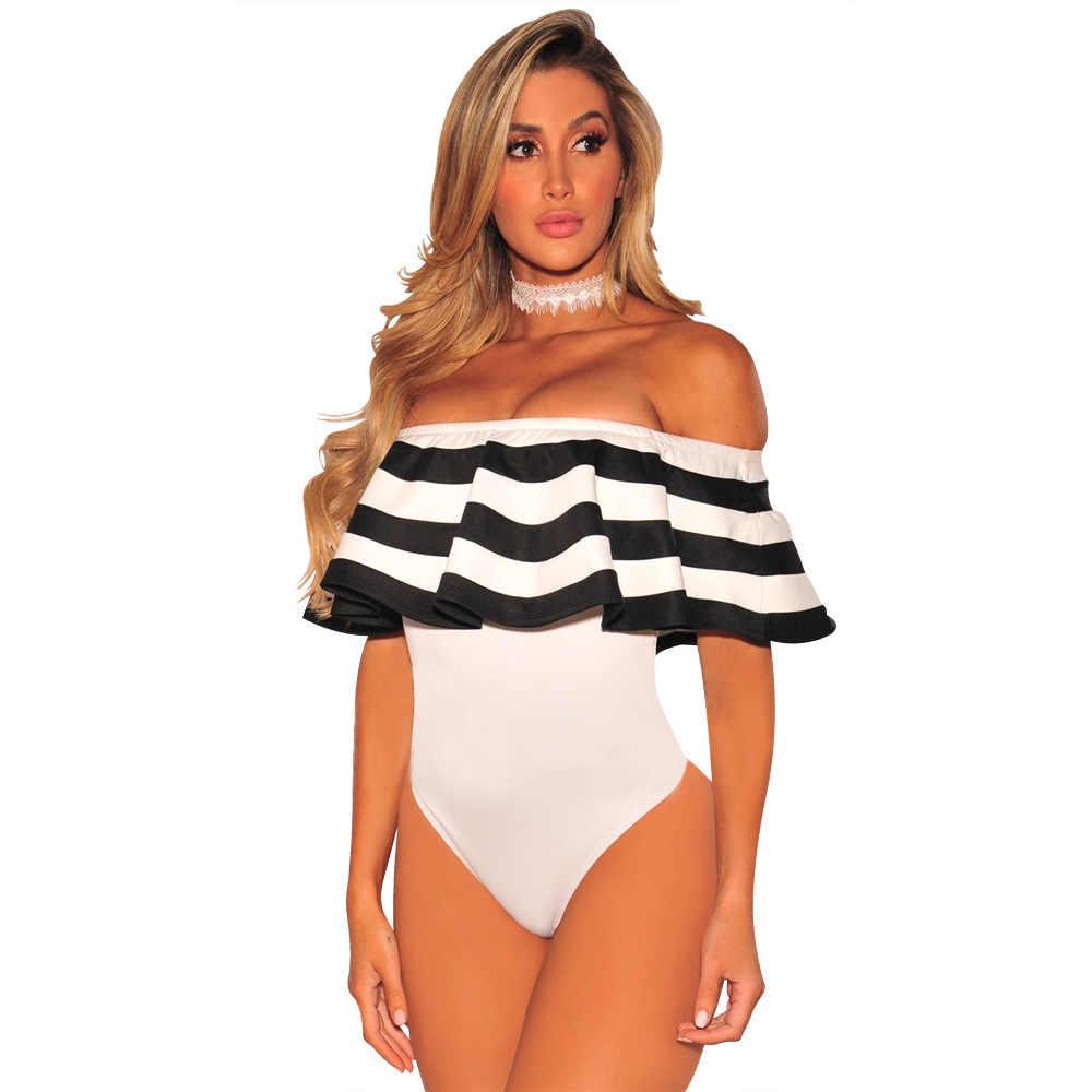 النساء ملابس السباحة قطعة واحدة مثير قبالة الكتف ثوب السباحة 2019 مخطط الطوقية Monokini الإناث داخلي مايوهات