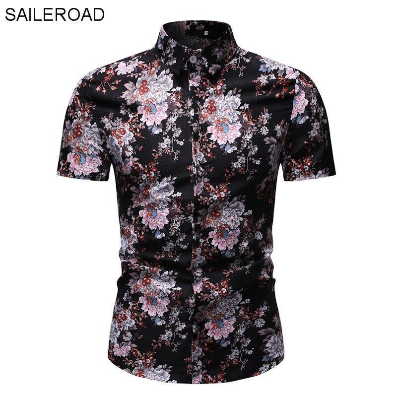 floral masculina verão camisas de manga curta topos