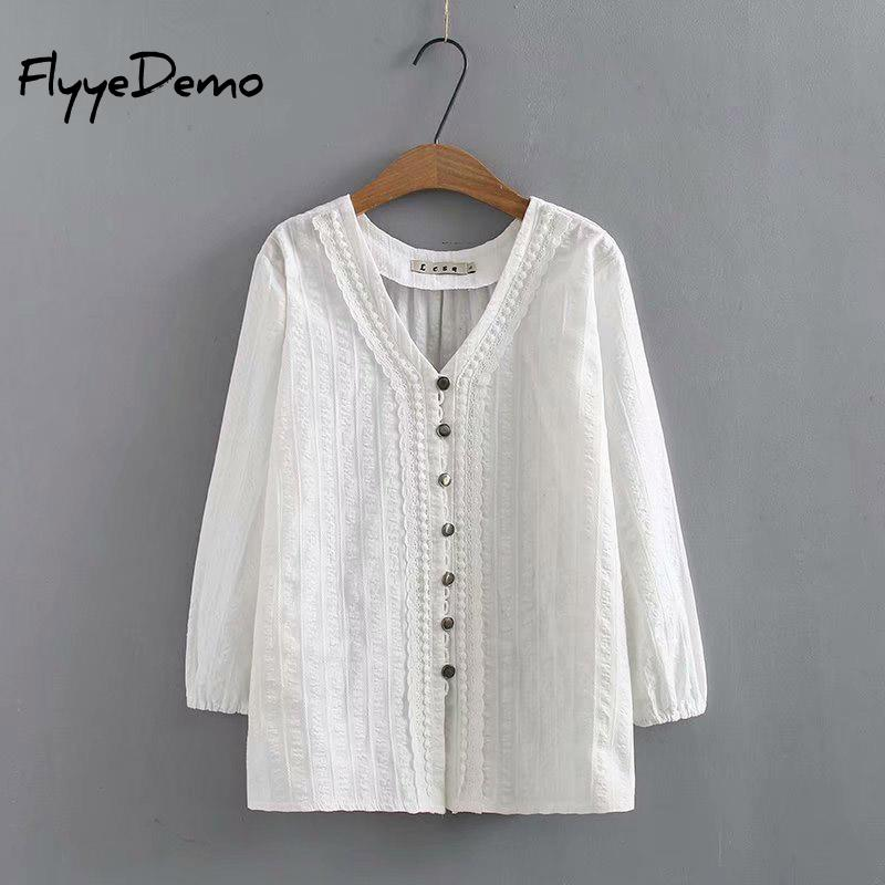 4XL 2020 Summer Women V Neck Embroidery Blouse Autumn White Lace Patchwork Long Sleeve Shirt Loose Tops Work Blusa Plus Size Blouses & Shirts    - AliExpress