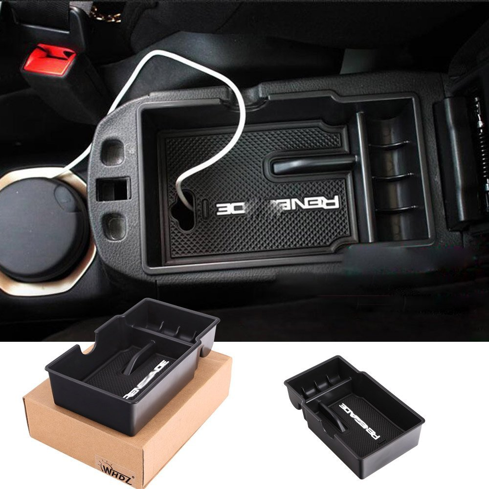 Car central armrest box Car Center Console Armrest Box Glove Box Secondary Storage For Jeep Renegade 2015 2016 2017 automotive original armrest cm8 car ehicle armrest box free punch central console hand box with usb port in wooden leather