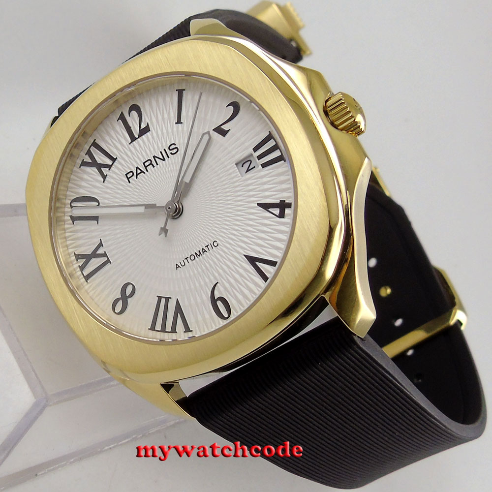 40mm Parnis white dial Sapphire golden case Miyota 821A automatic mens watch 892 japan miyota 40mm pvd case parnis men s watch