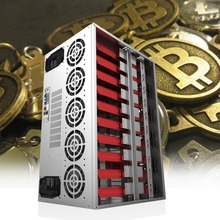 Crypto Coin Open Air Mining Frame Rig Graphics Case ATX Fit 12 GPU Ethereum ETH ETC ZEC XMR Magnalium Alloy 12cm Fans