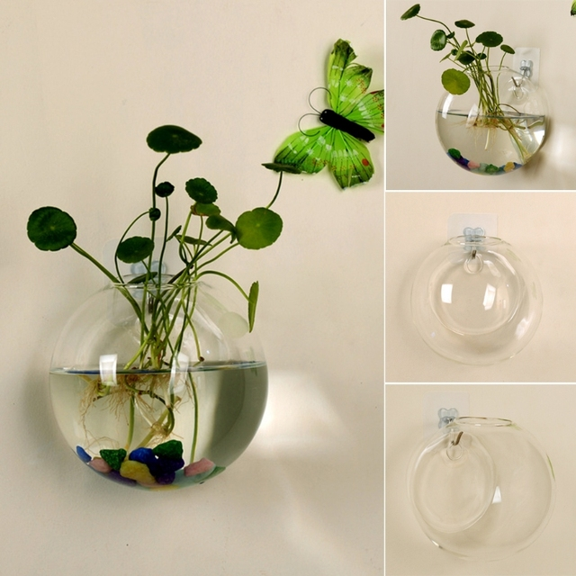 Glass Vase Wall Hanging Hydroponic Terrarium Fish Tanks Potted Plant Flower pot