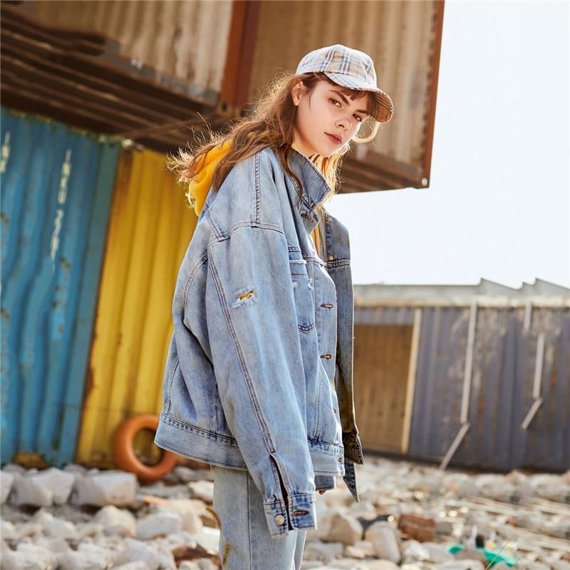 breasted Veste À Lj244 Vêtements Coupe Automne Manches Single Lâche Mode Blue Qualité Denim Longues De Supérieure Décontracté Hauts Printemps Cowboy Femmes Nouvelle FRTO5qq