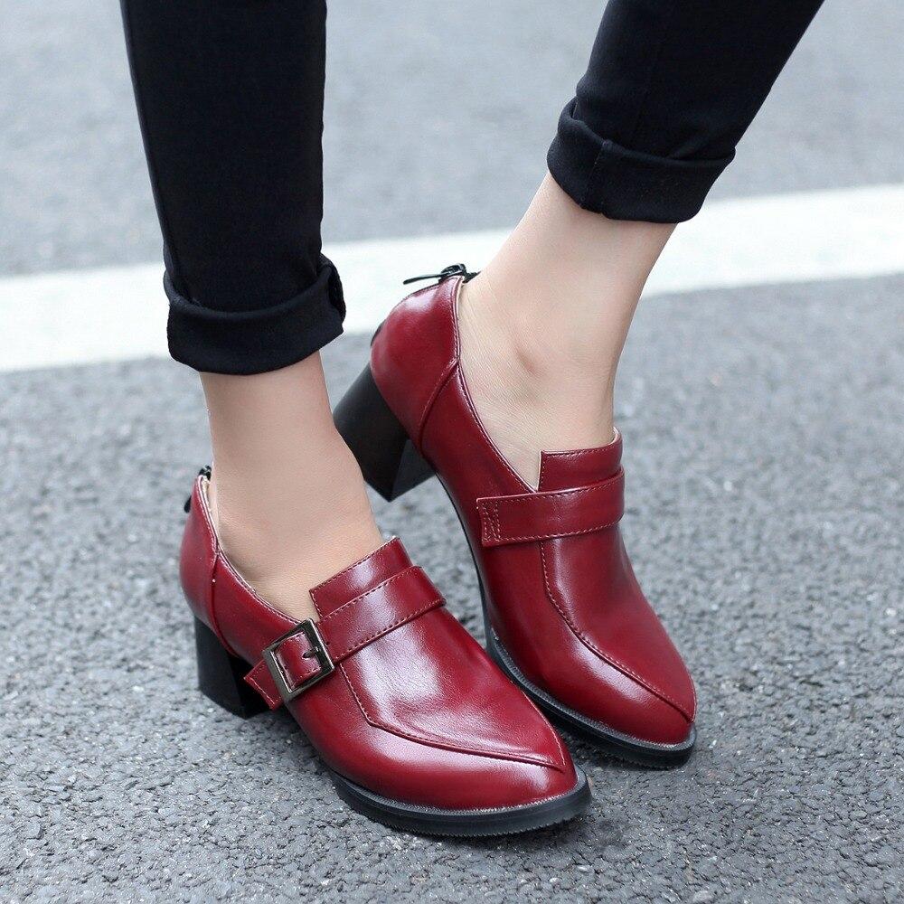 rouge Bout Chaussures Femmes Sapato Hauteur Cheville Noir 725 Pompes 44 Pointu Size31 Pu Doux 47 marron Feminino Mode Haute Grand Qualité 2018 46 45 48 FPSxOFw