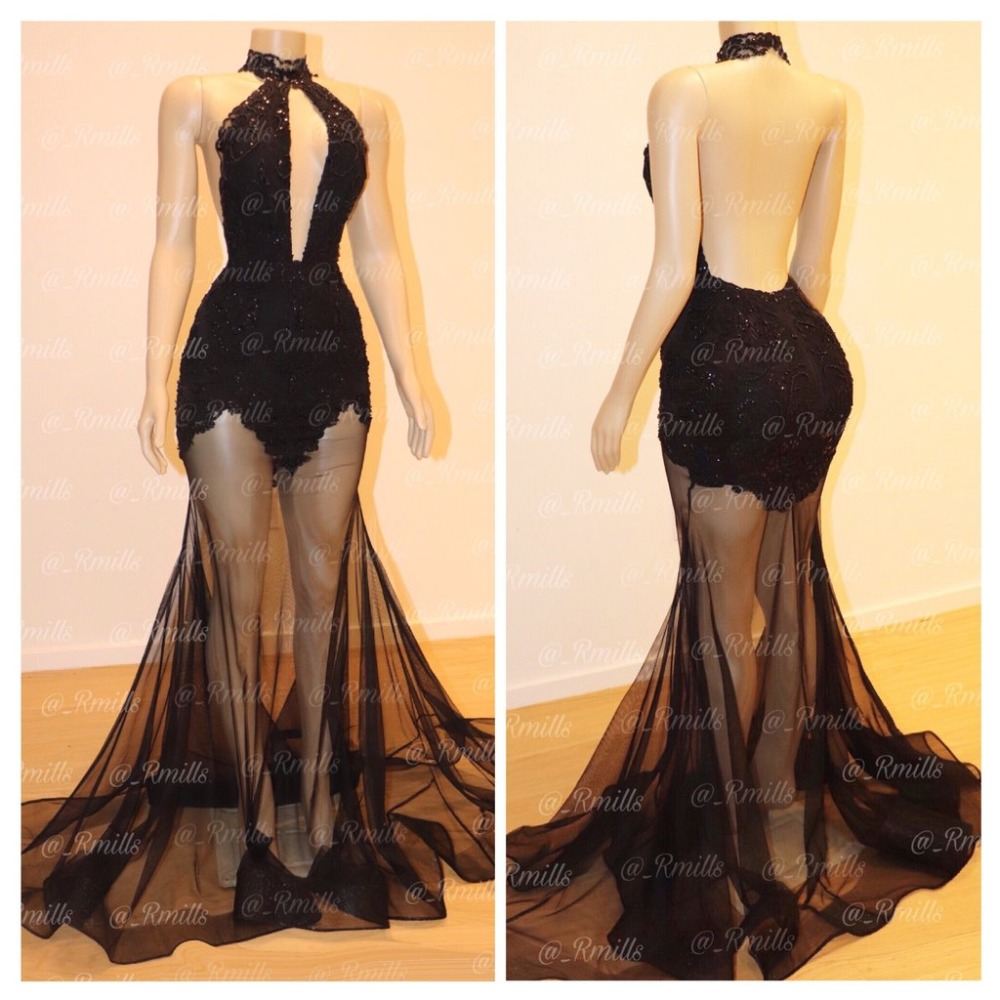 Vestidos de festa Sexy Backless High Neck Black Prom Dresses 2019 Appliqued Beaded Prom Party Dresses Customized Evening Dresses