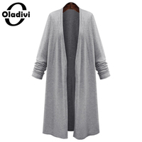 XL XXXXXL Big Size Women Clothing 2016 Spring Ladies Long Cardigan Grey Black Long Sleeved Elegant