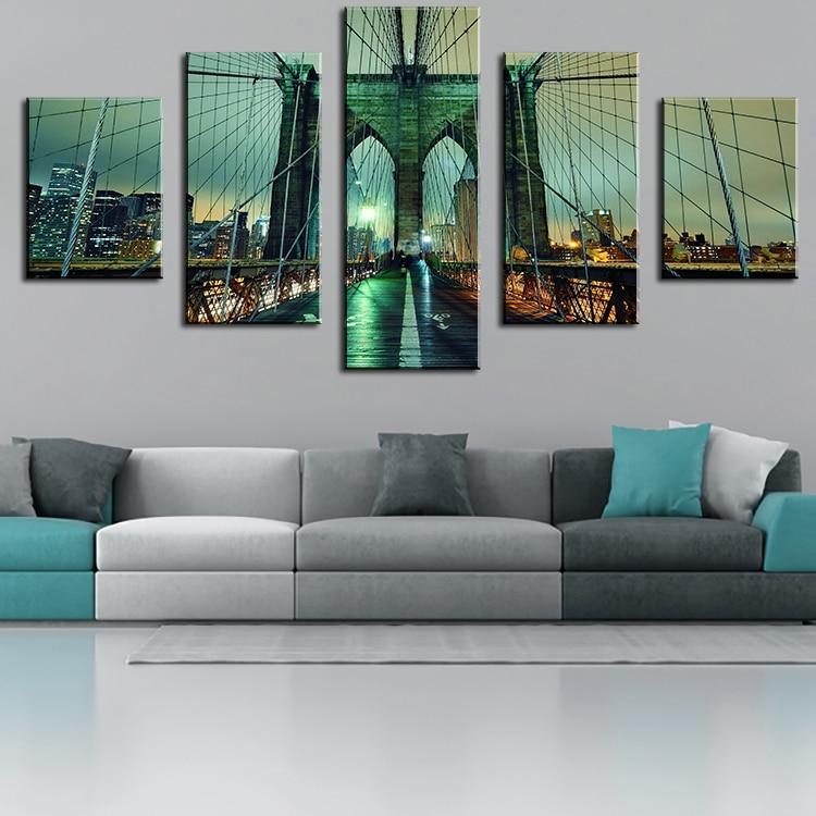 Delightful Wall Decor DP ARTISAN NO FRAME Brooklyn Bridge Oil Painting Printed  Painting Oil Painting On Canvas Oil Painting For Home Decor