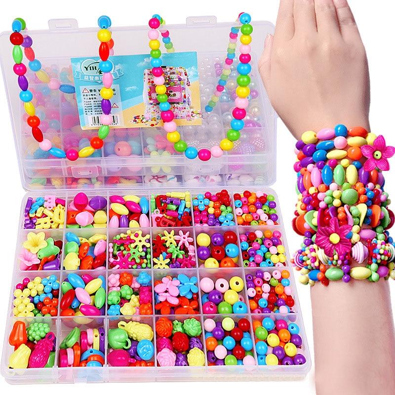 1200 PCS DIY Contas Coloridas Brinquedos Meninas Set Jóias Acessórios Enigma Handmade Artesanato Brinquedo Educação Crianças Colares Pulseiras