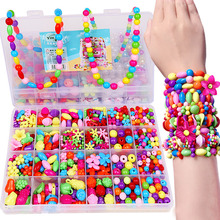 DIY Colorful Beads Girls Toys Set Jewelry Accessories Puzzle Handmade Crafts Education Toy Children Necklaces Bracelets