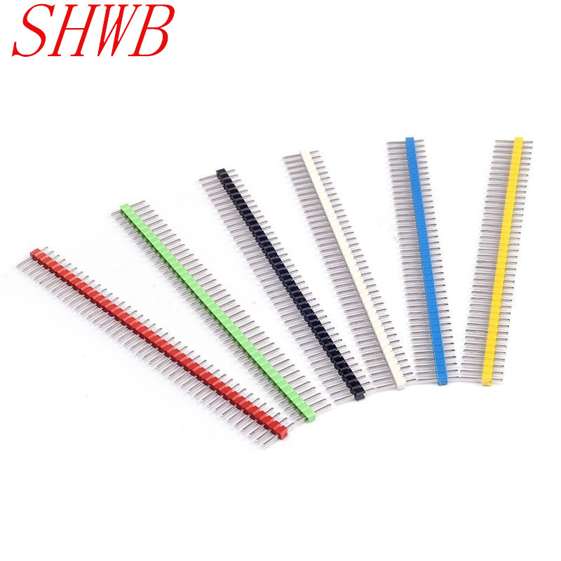 30pcs/lot Pin Connector Male 2.54mm Pitch Pin Header Strip Single Row 40 pin Connector Kit for PCB board (6 Colors Each 5pcs)