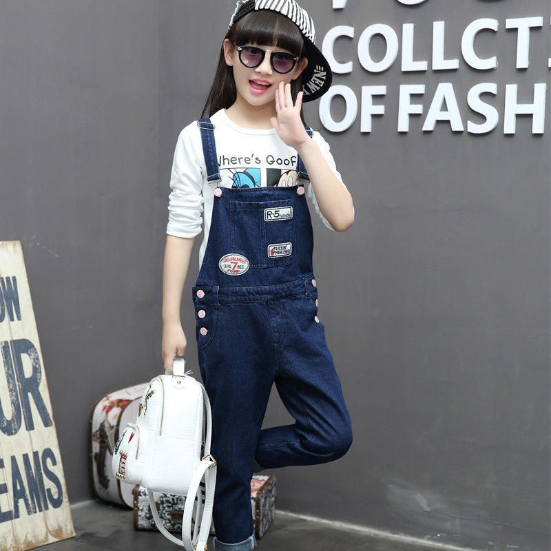 Kids Overalls For Girls Jeans Children Clothing School Girls Denim Pants Ropmers Girls Double Breasted Jumpsuits Trousers new men s denim overalls men slim fit cotton casual jeans jumpsuits for men long sleeves zipper patch trousers clothing