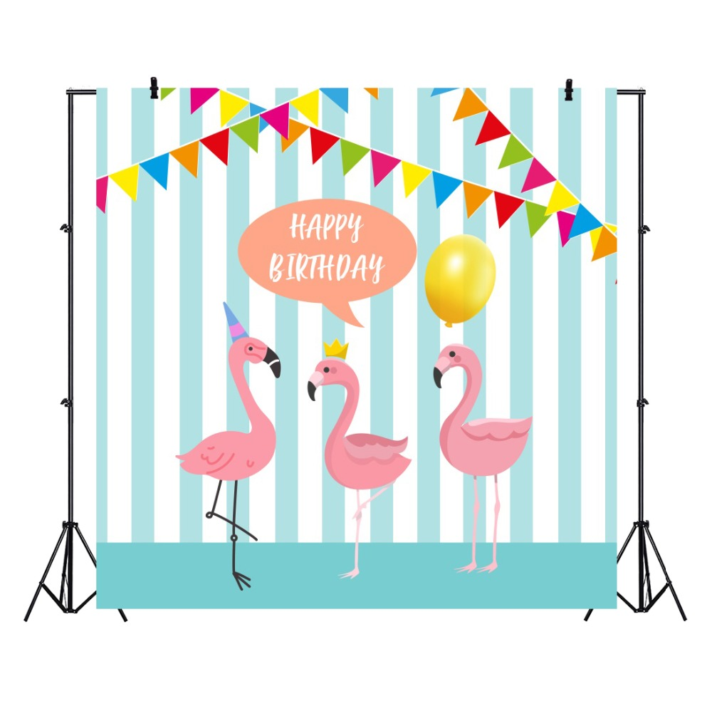 Laeacco Happy Birthday Flag Swan balloon Wall Cartoon Stage Scene Photography Background Photographic Backdrops For Photo Studio in Background from Consumer Electronics
