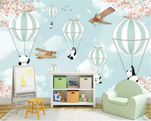 Beibehang Custom wallpaper mural modern minimalist Hand drawn cartoon balloon white clouds animal photo papier peint