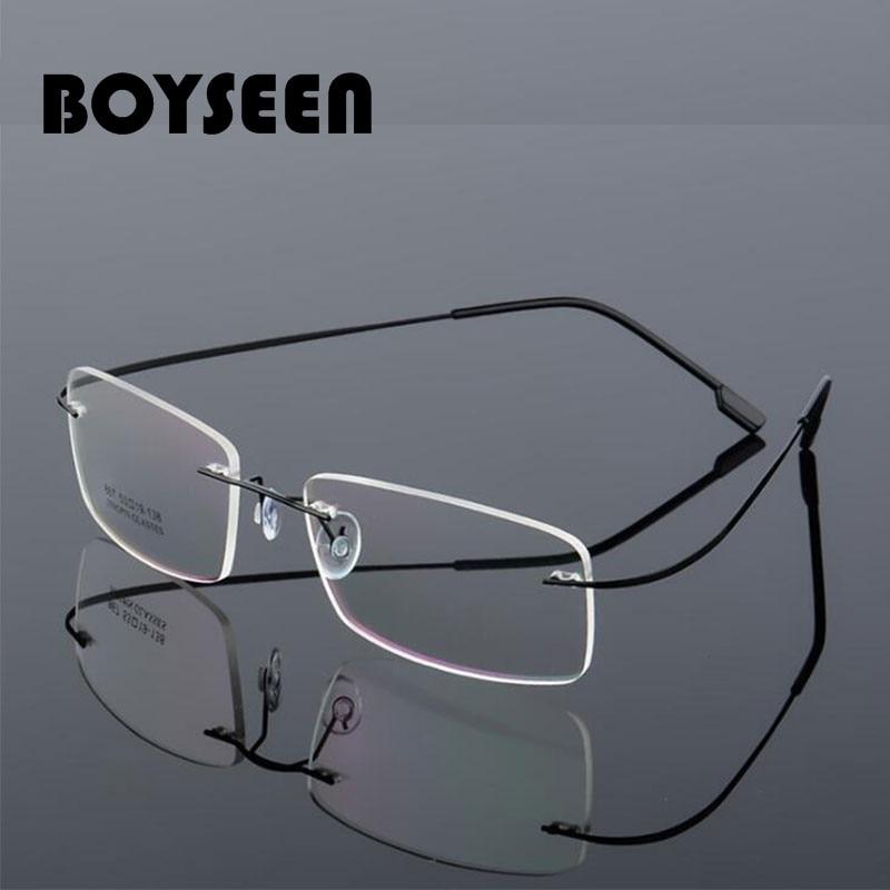 BOYSEEN Rimless Glasses Men Titanium Alloy Fold Women Square Eyeglasses Ultralight Frameless Eyewear