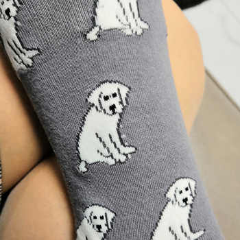 ORIGINAL labrador retriever women socks gift for lady Novelty Dog Socks kawaii fun crew socks crazy cotton sox 50 pairs/lot