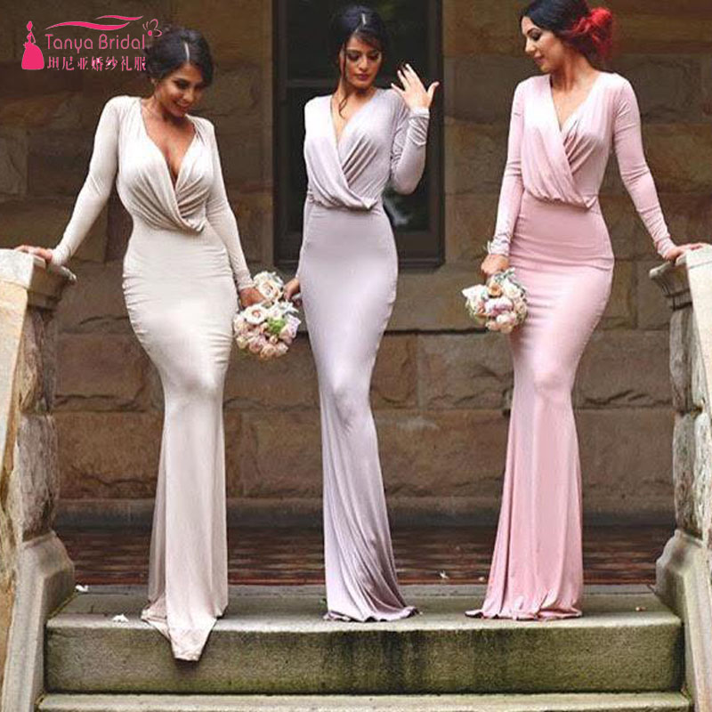 Simple Long Sleeve Mermaid Bridesmaid Dresses Wedding Guest Dresses