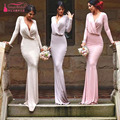 Simple Long Sleeve Mermaid Bridesmaid Dresses Wedding Guest Dresses Elegant Cheap Dresses For wedding party wear   Z676