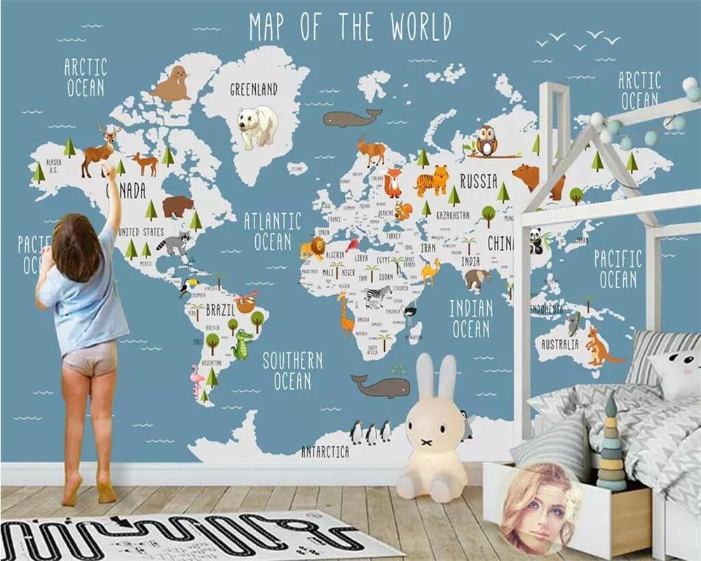 Beibehang Wallpaper Photo Cartoon World Map Children's Room Background Wall Murals Large Custom Living Room Bedroom 3d Wallpaper