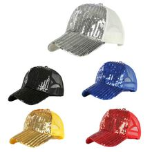 Unisex Glitter Sequins Summer Solid Color Baseball Cap Adjustable Mesh Splicing Breathable Magic Hip-Hop Trucker Hat Clubwear