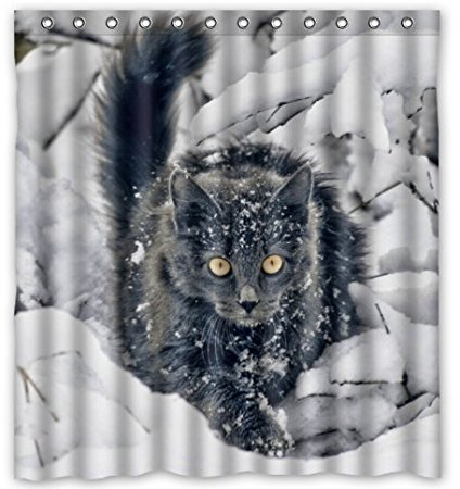 Bathroom Shower Curtains Weird Frozen Cat In Winter Snow 180x180cm Eco Friendly Waterproof Fabric Curtain From Home Garden On