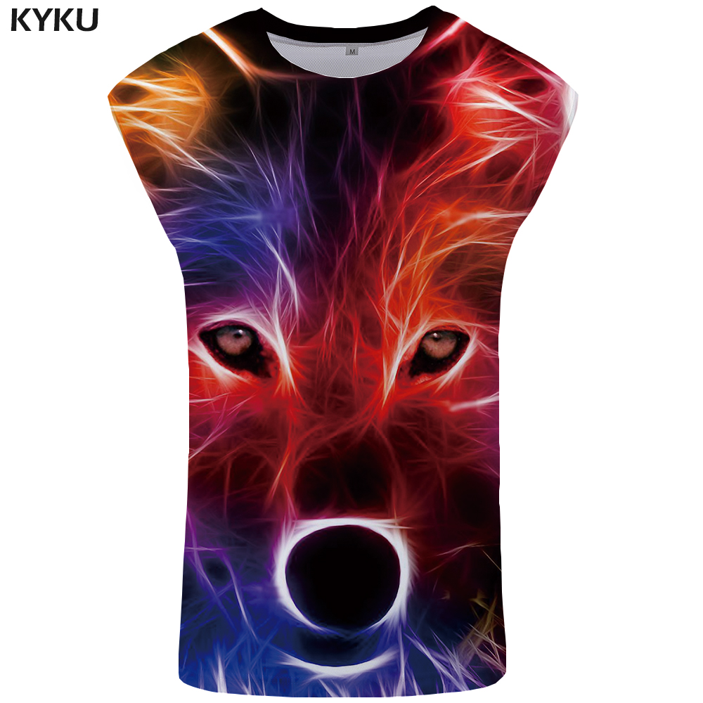 KYKU Brand Wolf   Tank     Top   Colorful Mens Vest Men Bodybuilding Undershirt Gothic clothes Trend   Tops   Dream Ftness Clothing