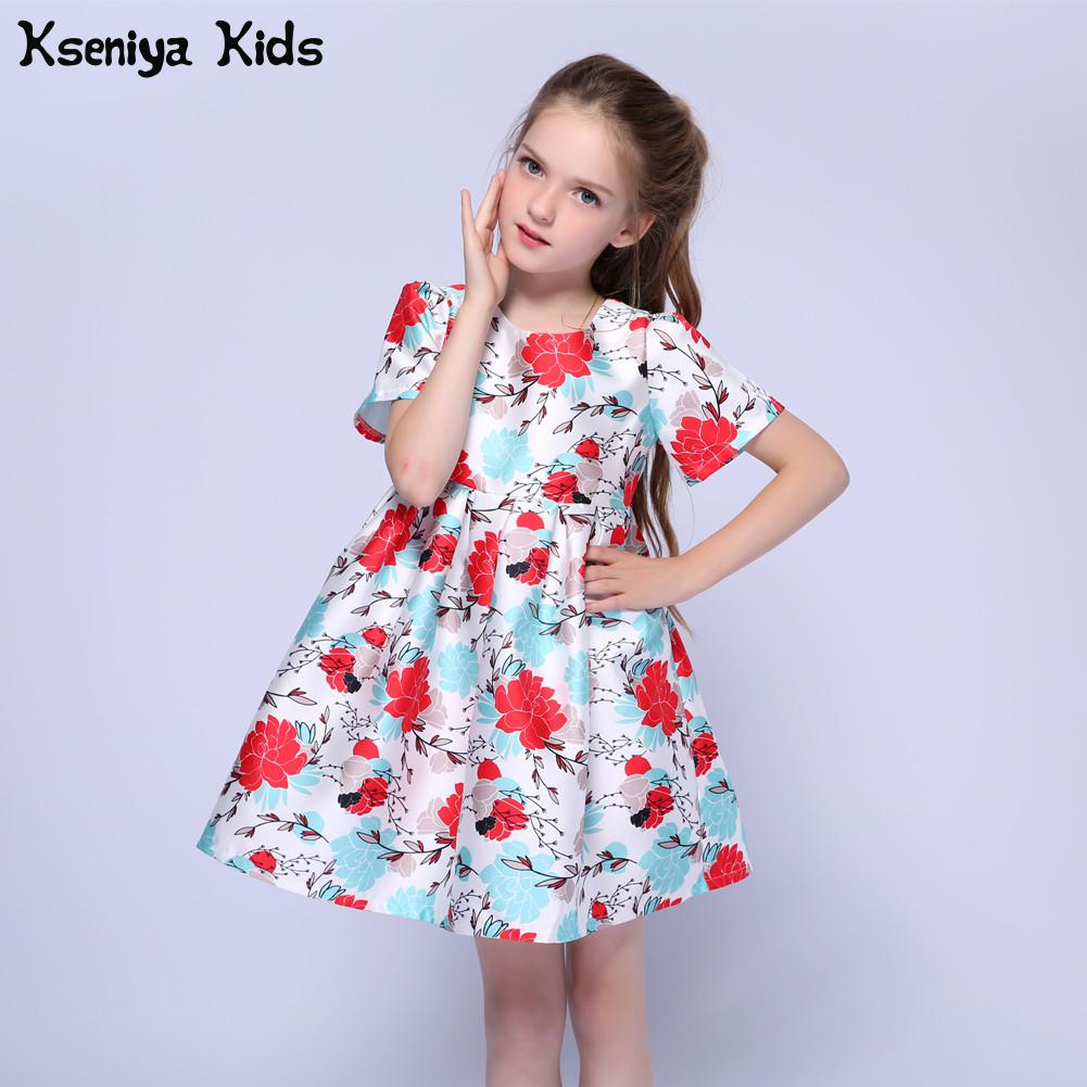 Kseniya Kids Baby Girls Bridesmaid Flower Girl Wedding Dress Ball Gown Usa Birthday Evening Prom Cloth Party Princess Dresses kids lace floral princess girl communion dress baby bridesmaid bow wedding party birthday girls dresses child vestudis de festa