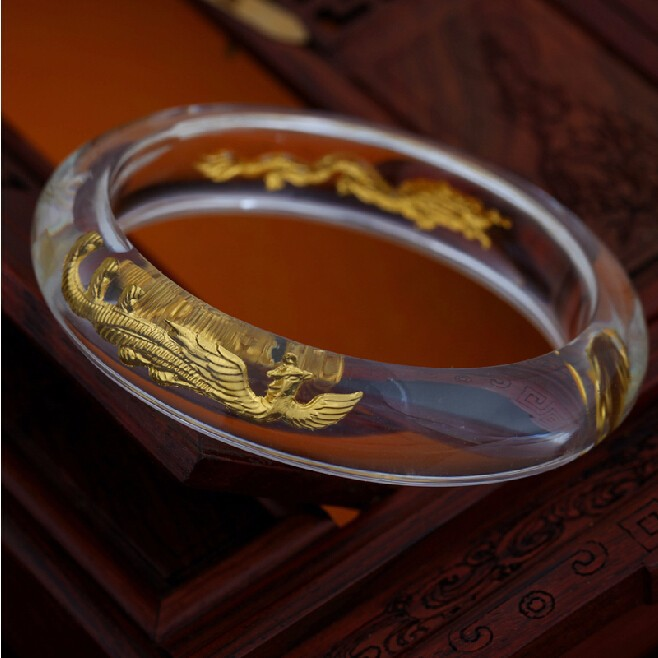 24K Yellow gold Dragon Phoenix man made Crystal Bangle 60mm