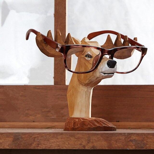 Kreative Handarbeit Gravieren Massivholz Hirschkopf Dekorative Brillen  Halter Moderne Holz Dekoration Ornamente