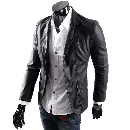 Big size Leather jacket for mens casaul slim pu leather Suit ...