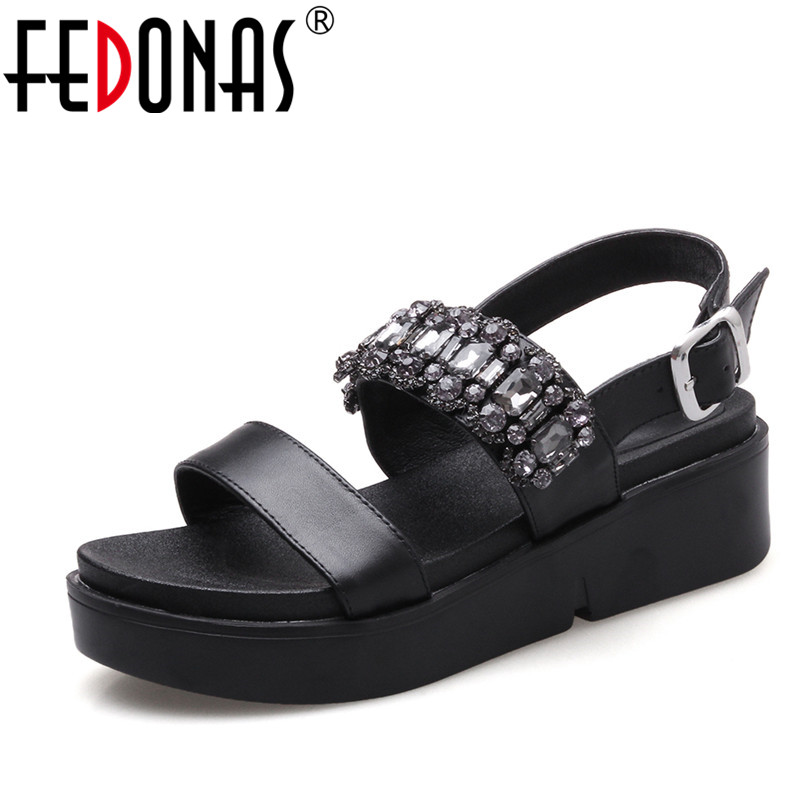 FEDONAS Women Leather Shoes Sandals Comfort Summer 2018 Fashion High Quality Wedges Heels Gladiator Sandals Casual Date Shoes timetang 2017 leather gladiator sandals comfort creepers platform casual shoes woman summer style mother women shoes xwd5583