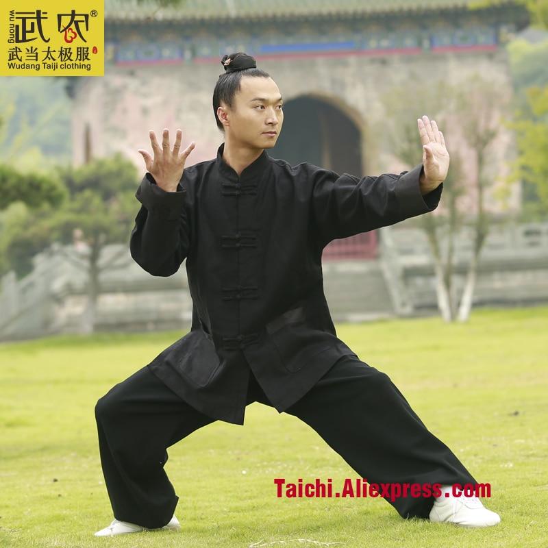 Wu Nong Wudang Tai Chi Clothing And Straight Collar Sleeve Thick Linen Thickened Morning Wushu Taijiquan Male Clothing