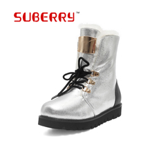 SUBERRY Keep Warm Silver Snow Boots Big Size 33-43 Women's High Quality Increased Lace-Up Flat Heels Ugs Australia Boots Women
