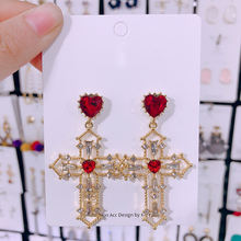 Женские серьги подвески в Корейском стиле форме Креста с кристаллами