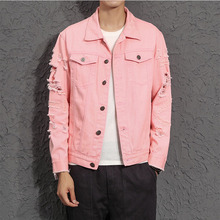 Men Distressed Denim Jacket Fashion Pink Hole Button hooded wing embroidery distressed denim jacket