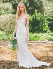 Free Shipping 2014 Hottest Design V Neckline Spaghetti Strap Lace Backless Sweep Train Suzhou Wedding Dress MD159