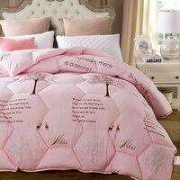 Druck Winter Bettdecke Dicke Daunenlieferant Inneren Herbst Textil Feder Faserabfüllmaschine Einzigen Doppel Bettwäsche Quilt Weiß Rosa W-09