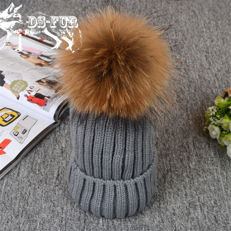 Real Raccoon and fox fur ball cap pom poms winter hat for women girl s hat