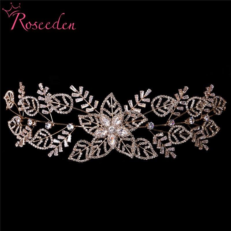 Zirconia Leaf Bride Headband Tiara t CZ Bridal Crowns And Tiaras Wedding Tiara Hair Jewelry Diadem Headpiece RE3492