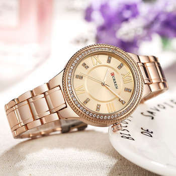 CURREN Brand Luxury Women's Casual Watches Waterproof Wristwatch Women Fashion Dress Rhinestone Stainless Steel Ladies Clock 4