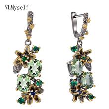 Beautiful Dangle Earrings Light Oval Green Cubic Zirconia Stones Flower Leaf Jewellery Black Gold color Jewelry Drop earring extremely attractive dangling earring blue green and clear oval cut stones of cubic zirconia big round dangle pendant earrings