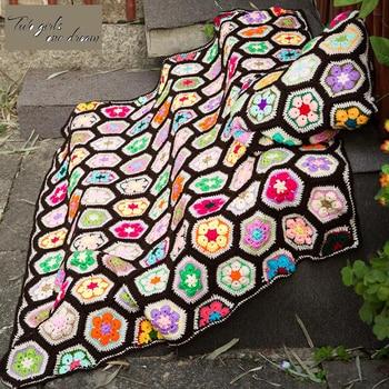 DIY Colourful Handmade Crocheted Flower Tablecloth Mats Fashion Carpet Crochet Blanket Yoga Bolster Cushion Crochet Table Mat