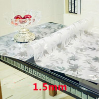 PVC Waterproof Tablecloth with pattern Kitchen Table Cover Oil Cloth Soft Glass Tablecloth 1.50 mm 5 Colours Available