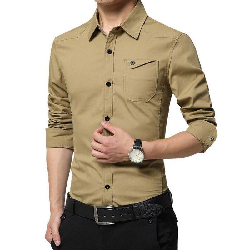 2017 Men Solid Dress Shirt Long Sleeve Pocket Design Slim
